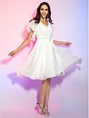 Χαμηλού Κόστους Φορέματα Παρανύμφων-Γραμμή Α Λαιμόκοψη V Μέχρι το γόνατο Σιφόν Κοκτέιλ Πάρτι Φόρεμα με Φιόγκος(οι) / Κρυστάλλινη λεπτομέρεια / Πιασίματα με TS Couture®