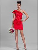 hesapli Nedime Elbiseleri-Sütun Tek Omuz Kısa / Mini Saten Kurdeleler / Fırfırlı ile Nedime Elbisesi tarafından LAN TING BRIDE®