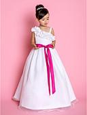 hesapli Çiçekçi Kız Elbiseleri-A-Şekilli / Prenses sapanlar Yere Kadar Organze Fiyonk / Kurdeleler / Çiçekli ile Çiçekçi Kız Elbisesi tarafından LAN TING BRIDE®