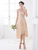 Χαμηλού Κόστους Φορέματα Παρανύμφων-Γραμμή Α Καρδιά Ασύμμετρο Σιφόν Φόρεμα Παρανύμφων με Χιαστί με LAN TING BRIDE® / Ανοικτή Πλάτη