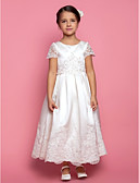 cheap Flower Girl Dresses-A-Line / Princess Ankle Length Flower Girl Dress - Satin Short Sleeve Jewel Neck with Beading / Appliques / Draping by LAN TING BRIDE®