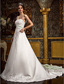 cheap Wedding Dresses-A-Line Sweetheart Neckline Cathedral Train Lace Over Satin Made-To-Measure Wedding Dresses with Beading / Appliques / Sash / Ribbon by