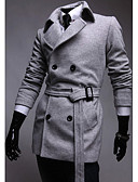 cheap Men's Jackets & Coats-Men'S Double Breasted Pure Color Slim Long Trench Coat