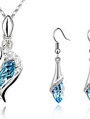 cheap Wedding Dresses-Women's Crystal S Shaped Jewelry Set - Crystal, Cubic Zirconia, Rhinestone Drop Fashion, Elegant Include Drop Earrings Pendant Necklace Earrings Green / Light Blue / Dark Purple For Christmas Gifts