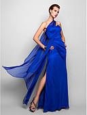 baratos Vestidos de Noite-Tubinho Assimétrico Longo Chiffon Frente Única Evento Formal Vestido com Drapeado Lateral de TS Couture®