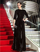 cheap Prom Dresses-A-Line Jewel Neck Floor Length Velvet Formal Evening / Military Ball Dress with Side Draping by TS Couture® / Celebrity Style / Vintage Inspired
