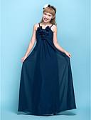 Χαμηλού Κόστους Φορέματα για παρανυφάκια-Ίσια Γραμμή Λεπτές Τιράντες Μακρύ Σιφόν Φόρεμα Νεαρών Παρανύμφων με Πιασίματα / Λουλούδι με LAN TING BRIDE® / Γραμμή Empire