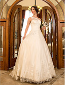 cheap Wedding Wraps-A-Line / Princess One Shoulder Sweep / Brush Train Lace / Tulle Made-To-Measure Wedding Dresses with Beading / Appliques / Sash / Ribbon