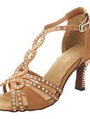 זול תחרה רומטנית-בגדי ריקוד נשים נעליים לטיניות / ריקודים סלוניים / נעלי סלסה סטן סנדלים / עקבים ריינסטון עקב עבה ללא התאמה אישית נעלי ריקוד ברונזה