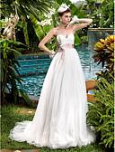 Χαμηλού Κόστους Νυφικά-Γραμμή Α Καρδιά Ουρά Δαντέλα / Τούλι Φορέματα γάμου φτιαγμένα στο μέτρο με Φιόγκος / Χάντρες / Ζώνη / Κορδέλα με LAN TING BRIDE®