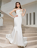 cheap Wedding Dresses-Mermaid / Trumpet Strapless Sweep / Brush Train Satin Made-To-Measure Wedding Dresses with Draping / Criss-Cross / Side-Draped by LAN TING BRIDE®
