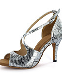 cheap Women's Tanks-Women's Latin Shoes / Ballroom Shoes Leatherette Sandal Buckle Stiletto Heel Customizable Dance Shoes Silver / Gold