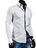 cheap Men's Shirts-Men's Cotton Slim Shirt - Solid Colored Button Down Collar / Long Sleeve