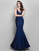 billige Aftenkjoler-Havfrue V-hals Gulvlang Jerseystof Vintage Inspireret Formel aften Kjole med Plissé ved TS Couture®