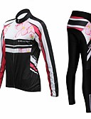 cheap Bras-Realtoo Women's Long Sleeve Cycling Jersey with Tights - Black Bike Clothing Suit, 3D Pad, Thermal / Warm, Quick Dry, Breathable, Sweat-wicking Polyester, Spandex Floral / Botanical