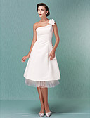 cheap Cocktail Dresses-A-Line One Shoulder Knee Length Satin / Tulle Made-To-Measure Wedding Dresses with Flower by LAN TING BRIDE® / Little White Dress