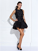 cheap Prom Dresses-Ball Gown Jewel Neck Short / Mini Organza / Taffeta Little Black Dress Cocktail Party Dress with Beading / Ruffles / Flower by TS Couture®