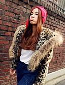 baratos Trench Coats e Casacos Femininos-Mulheres Casaco de Pêlo Vintage-Leopardo