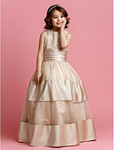 cheap Flower Girl Dresses-Ball Gown Floor Length Flower Girl Dress - Organza / Satin Sleeveless Jewel Neck with Beading / Sash / Ribbon / Ruched by LAN TING BRIDE® / Spring / Summer / Fall
