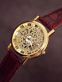 preiswerte Quartz-Damen Armbanduhr Transparentes Ziffernblatt Leder Band Charme / Freizeit Schwarz / Braun