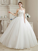 cheap Wedding Dresses-Ball Gown Sweetheart Floor Length Organza Wedding Dress with Beading Flower