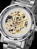 baratos Relógios Mecânicos-WINNER Homens Relógio de Pulso Gravação Oca Aço Inoxidável Banda Amuleto Prata / Automático - da corda automáticamente
