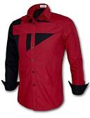 baratos Camisetas & Regatas Masculinas-Homens Camisa Social - Esportes Xadrez Algodão