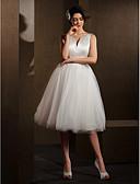 Χαμηλού Κόστους Νυφικά-Βραδινή τουαλέτα Λαιμόκοψη V Μέχρι το γόνατο Σατέν / Τούλι Φορέματα γάμου φτιαγμένα στο μέτρο με Φιόγκος / Ζώνη / Κορδέλα με LAN TING