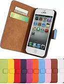 olcso Leggingek-Case Kompatibilitás iPhone 5 Apple iPhone 5 tok Kártyatartó Pénztárca Állvánnyal Flip Héjtok Tömör szín Kemény PU bőr mert iPhone SE/5s