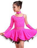 baratos Vestidos de Patinação no Gelo-Dança Latina Vestidos Mulheres Treino / Espetáculo Renda Renda / Cristal / Strass Natural Vestido / Luvas / Neckwear