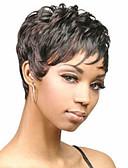 preiswerte Damen Leggings-Synthetische Perücken Glatt / Locken Stufenhaarschnitt / Asymmetrischer Haarschnitt Synthetische Haare 2 Zoll Natürlicher Haaransatz Schwarz Perücke Damen Kurz Kappenlos Schwarz