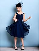 billige Junior brudepikekjoler-A-linje stropper Knelang Chiffon Junior brudepikekjole med Belte / bånd / Kryssdrapering / Bølgemønster av LAN TING BRIDE® / Naturlig