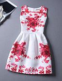 זול שמלות נשים-לבן גיזרה גבוהה עד הברך פרחוני - שמלה גזרת A כותנה חוף חגים בגדי ריקוד נשים