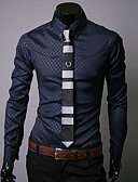 cheap Men's Blazers & Suits-Men's Work Street chic Plus Size Cotton Slim Shirt - Plaid Print Button Down Collar / Long Sleeve
