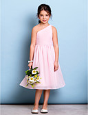 cheap Junior Bridesmaid Dresses-A-Line One Shoulder Knee Length Chiffon Junior Bridesmaid Dress with Draping / Side Draping / Ruched by LAN TING BRIDE® / Natural