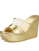 cheap Women's Scarves-Women's Shoes Leatherette Spring / Summer / Fall Wedge Heel Black / Silver / Golden