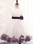 cheap Flower Girl Dresses-A-Line Knee Length Flower Girl Dress - Cotton / Polyester / Lace Sleeveless Jewel Neck with Sash / Ribbon / Flower / Pleats by