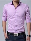 billige Herreskjorter-Bomull Klassisk krage Store størrelser Skjorte Herre - Ensfarget Arbeid / Langermet