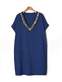 billige Kjoler i plus størrelser-Dame Daglig Weekend Perler Ensfarvet Afslappet Plusstørrelser Skift Over knæet Kjole, Kortærmet V-hals