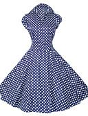 halpa Vintage-kuningatar-Naisten Party Vintage Puuvilla A-linja Mekko - Polka Dot Paitapuserokaula-aukko Polvipituinen