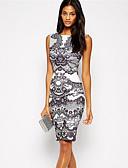 cheap Women's Dresses-Women's Vintage Bodycon Dress - Geometric Print Boat Neck / Summer / Slim