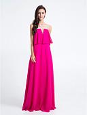 Χαμηλού Κόστους Φορέματα Παρανύμφων-Ίσια Γραμμή Στράπλες / Λαιμόκοψη V Μακρύ Σιφόν Φόρεμα Παρανύμφων με Πλισέ με LAN TING BRIDE®