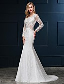 cheap Wedding Dresses-Mermaid / Trumpet Scoop Neck Sweep / Brush Train Lace Over Satin Made-To-Measure Wedding Dresses with Crystals by LAN TING Express / Illusion Sleeve / See-Through