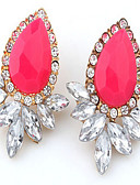 abordables Relojes de Moda-Mujer Diamante sintético Pendientes cortos / Pendientes colgantes - Zirconia Cúbica, Chapado en Oro, Diamante Sintético Gota Moda Pantalla de color Para