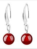 זול קווארץ-בגדי ריקוד נשים ברקת עגילי טיפה - כסף סטרלינג שחור / אדום עבור חתונה Party יומי