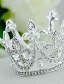 baratos Véus de Noiva-Imitação de Pérola / Strass / Liga Tiaras com 1 Casamento Capacete