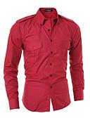abordables Camisas de Hombre-Hombre Algodón Camisa Un Color