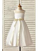 זול שמלות לילדות פרחים-גזרת A באורך הקרסול שמלה לנערת הפרחים - טול ללא שרוולים עם תכשיטים עם פפיון(ים) / סרט על ידי LAN TING Express