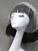 cheap Wedding Veils-One-tier Cut Edge Wedding Veil Blusher Veils Veils for Short Hair 53 Rhinestone Tulle
