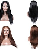 cheap Latin Dance Wear-Human Hair Full Lace / Lace Front Wig Wig Straight 130% Density Natural Hairline / African American Wig / 100% Hand Tied Women's Short / Medium Length / Long Human Hair Lace Wig